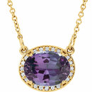 14KT Yellow Gold Chatham Created Alexandrite &.05 Carat Total Weight Diamond 16.5