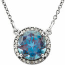 14KT White Gold Chatham Created Alexandrite & .05 Carat Total Weight Diamond 16