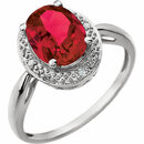 14KT White Gold Created Ruby & .02 Carat Total Weight Diamond Ring