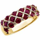 14KT Yellow Gold Ruby & 1/6 Carat Total Weight Diamond Ring