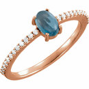 14KT Rose Gold 6x4mm Oval Cabochon London Blue Topaz & 1/8 Carat Total Weight Diamond Ring