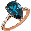 14KT Rose Gold London Blue Topaz & 1/4 Carat Total Weight Diamond Ring