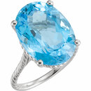 14KT White Gold 18x13mm Swiss Blue Topaz Rope Ring