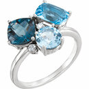 14KT White Gold Swiss, London, & Sky Blue Topaz & .05 Carat Total Weight Diamond Ring