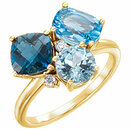 14KT Yellow Gold Swiss, London, & Sky Blue Topaz & .05 Carat Total Weight Diamond Ring