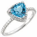 Platinum Swiss Blue Topaz & 1/4 Carat Total Weight Diamond Ring