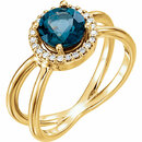 14KT Yellow Gold London Blue Topaz & 1/8 Carat Total Weight Diamond Halo-Style Ring