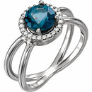 Platinum London Blue Topaz & 1/8 Carat Total Weight Diamond Halo-Style Ring