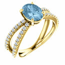 14KT Yellow Gold Sky Blue Topaz & 3/8 Carat Total Weight Diamond Ring