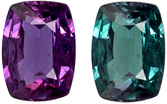 Faceted Color Change Alexandrite Loose Gem in Cushion Cut, Teal Blue Green to Eggplant, 5.8 x 4.3 mm, 0.58 carats