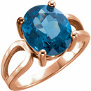14KT Rose Gold 12x10mm Oval London Blue Topaz Ring