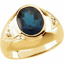 Men's London Blue Topaz & Diamond Ring