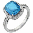 14KT White Gold Swiss Blue Topaz & .07 Carat Total Weight Diamond Ring