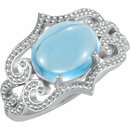 14KT White Gold Swiss Blue Topaz Granulated Design Ring