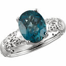 14KT White Gold 10x8mm London Blue Topaz Ring
