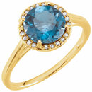 14KT Yellow Gold London Blue Topaz & .05 Carat Total Weight Diamond Ring