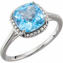 14KT White Gold Swiss Blue Topaz & .055 Carat Total Weight Diamond Halo-Style Ring