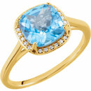 14KT Yellow Gold Swiss Blue Topaz & .055 Carat Total Weight Diamond Halo-Style Ring