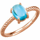 14KT Rose Gold Swiss Blue Topaz Cabochon Ring