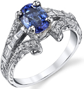 Ornate Hand Crafted 1.78ct Oval Blue Sapphire Ring With Intricate Diamond Accent Details in 18kt White Gold