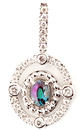 Exquisite Double Diamond Framed Oval Shape Natural Alexandrite Pendant in 14k White Gold for SALE - 0.52 carats, 4.75 x 4.30 mm