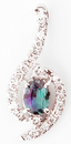 Pleasing Oval Cut Natural Alexandrite Gemstone Pendant With Curved Diamond Designs in 14k White Gold - 0.58 carats, 5.95 x 4.44 mm