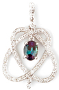 Romantic Natural Alexandrite and Diamond Pendant With Interwoven Hearts in 14k White Gold  - 0.7 carats, 6.47 x 4.68 mm