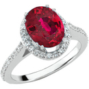 Stunning RED Genuine 1.25ct 7x5mm Ruby of Superb Quality set in Diamond Gold Ring for SALE