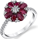 Flower Style Ruby & Diamond Ring in 18kt White Gold - 8 Oval & Pear Rubies & 23 Diamonds - Hand Crafted - SOLD