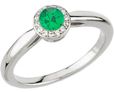 Perfect .25ct 4mm Emerald Engagement Ring - Vivid Color Top GEM grade set in White Gold & Diamonds for SALE