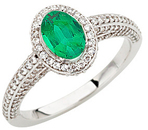 Stunning Large 1 carat GEM Quality 7x5mm Oval Columbian Emerald set in 1.50 carat Diamond Mounting in White Gold for SALE
