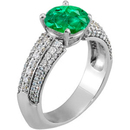 Exquisite Vivid Green GEM Grade 1.30 carat 7mm Emerald Euro Shank Engagement Ring With Dazzling Faux Pave Diamond Accents