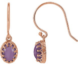 Crown Style Wire Back 14 Karat Rose Gold 9x7mm Cabochon Oval Amethyst Earrings
