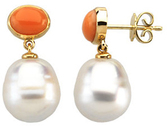 14KT White Gold 8x6mm Oval Coral Dangle Earrings