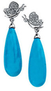 14KT White Gold 1/6 Carat Total Weight Diamond & Turquoise Earrings