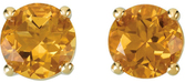 14KT Yellow Gold 6mm Round Citrine Friction Post Stud Earrings