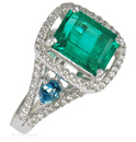 Unique Color Combo of Emerald & Blue Topaz Accents with Pave Diamonds - SOLD