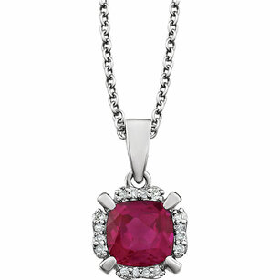 14KT White Gold Created Ruby & .05 Carat Total Weight Diamond 18