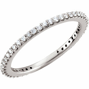 14 KT White Gold 1/3 Carat Total Weight Diamond Stackable Ring Size 5