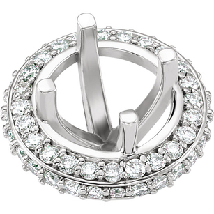 Chic Pre-Set Halo Accented Peg Setting for Round Shape Gemstone Sized 5.20 mm - 6.50 mm - Customize Metal Type