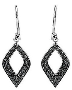 Striking 1.6ct 1.5mm Pave Spinel Sterling Silver Wire Back Dangle Fashion Earrings - Unique Open Shape - SOLD