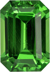Rich Green Loose Tsavorite Gem in Emerald Cut, 7.5 x 5.3 mm, 1.43 carats
