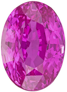 Intense Vivid Pink Sapphire Loose Gemstone in Oval Cut, Bubble Gum Pink, 10.1 x 7.2 mm, 4.02 carats