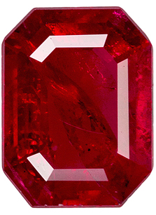 Stunning Red Ruby Genuine African Gemstone - Very Rich Red, Hard to Find Shape, Emerald Cut, 7.4 x 5.5 mm, 1.11 carats