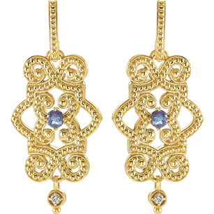 Stunning Watery Blue 2.75mm Tanzanite Gemstone Earrings With 14k Yellow Gold Beaded Designs - Diamond Accents