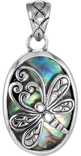 Charming Dragonfly Sterling Silver Pendant for SALE - 21 x 15 Oval Abalone Shell Background - Free Chain Included - SOLD