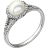 Lustrous 7mm Round Pearl June Birthstone Ring in 14k White Gold - Halo Accents & Split Pave Shank
