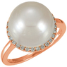 Exceptionally Beautiful 15.4ct 12mm Circle South Sea Cultured Pearl Cocktail Ring in 14k Rose Gold - Diamond Accent Halo