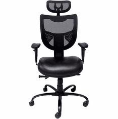 24/7 400 Lbs. Capacity Multi-Shift Black Chair w/Antimicrobial Vinyl Seat & Mesh Back/Headrest