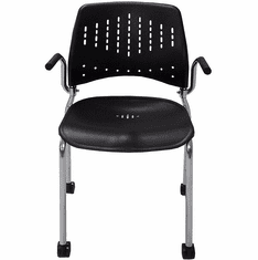 300 Lbs. Capacity Black Polypropylene Mobile Stacking Chair with Armrests